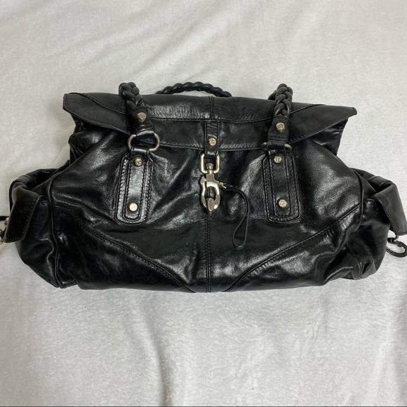 Francesco Biasia Black Leather Braded Shoulder Bag